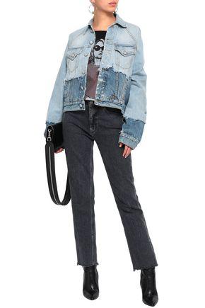 R13 Distressed two-tone denim jacket