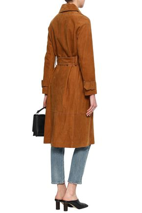 VINCE. Belted suede trench coat