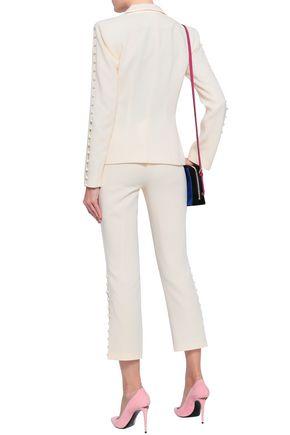 CINQ À SEPT Button-embellished crepe blazer