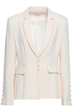 CINQ À SEPT Button-embellished crepe blazer