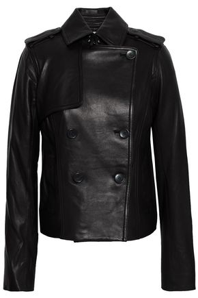 VINCE. Double-breasted leather jacket