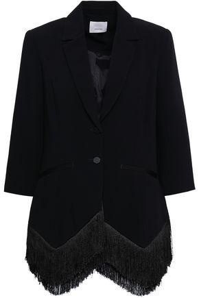 CINQ À SEPT Fringe-trimmed crepe blazer
