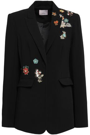 CINQ À SEPT Appliquéd stretch-crepe blazer