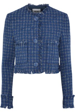 MSGM Cropped metallic cotton-blend tweed jacket