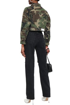 RE/DONE Cropped printed denim jacket