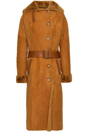 DOM GOOR Belted leather-trimmed shearling coat