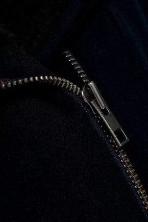 VINCE. Shearling-trimmed wool-blend coat