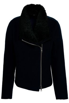 VINCE. Shearling-trimmed wool-blend coat