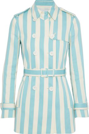 REDValentino Striped cotton and silk-blend gabardine trench coat