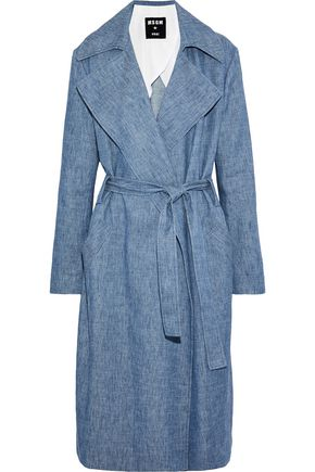 MSGM Cotton and linen-blend chambray trench coat