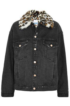 SJYP Leopard-print faux fur-trimmed distressed denim jacket