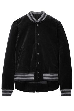 THE GREAT. Striped cotton-velvet bomber jacket