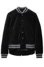 THE GREAT. Striped cotton-velvet bomber jacket