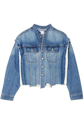 SJYP Paneled distressed denim jacket