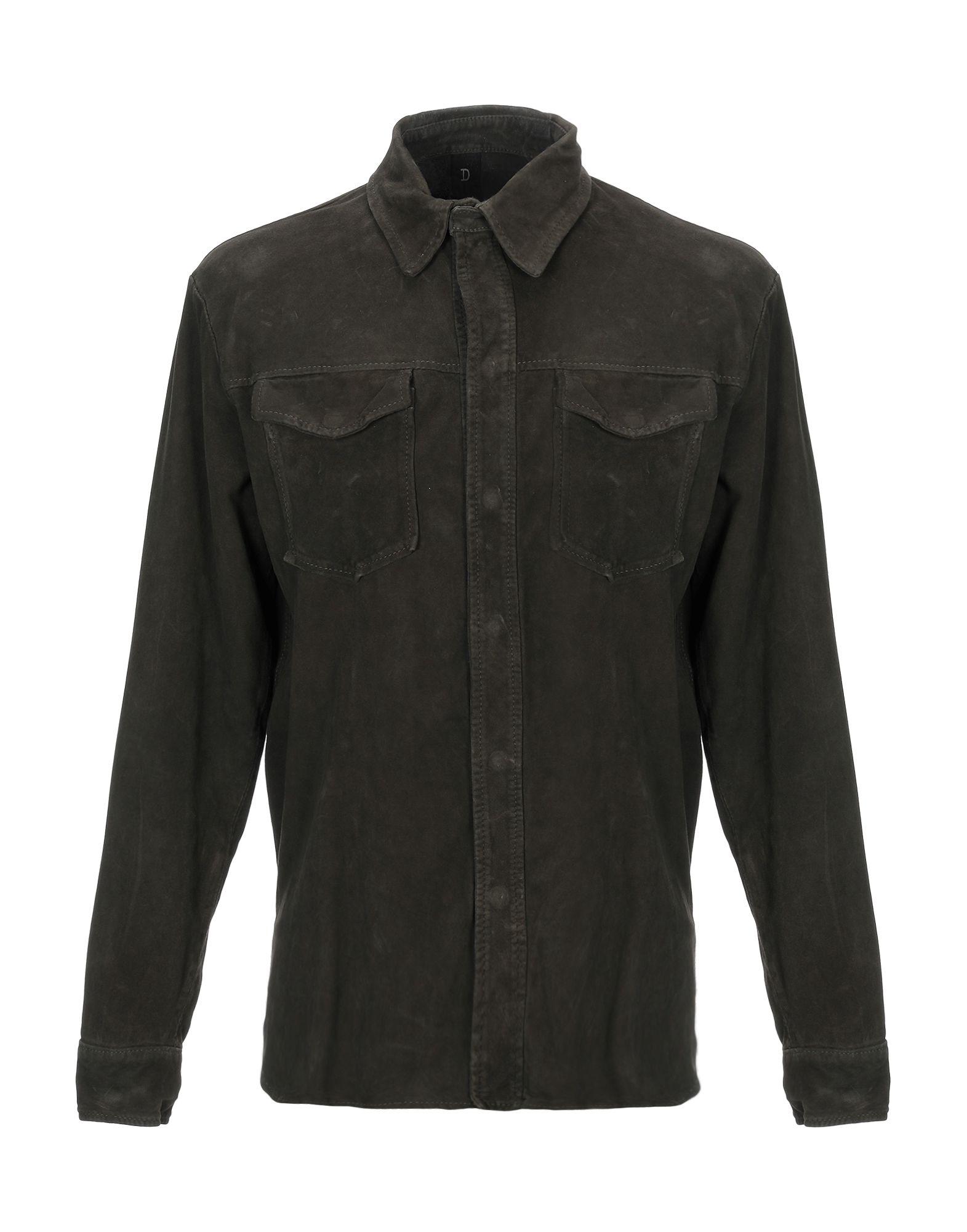 《期間限定セール中》DELAN メンズ シャツ ダークグリーン 48 革