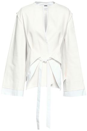 JIL SANDER Belted cotton-blend jacket