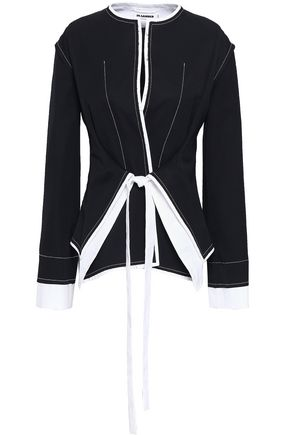 JIL SANDER Belted two-tone wool jacket