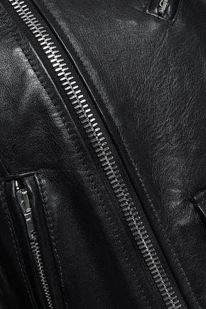 REDValentino Striped leather bomber jacket