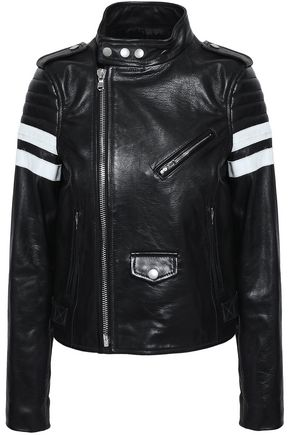 REDValentino Striped leather bomber jacket