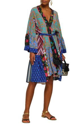 FIGUE Belted tasseled printed silk wrap dress