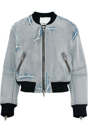 3.1 PHILLIP LIM Cropped bleached denim bomber jacket