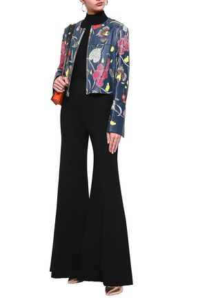 DIANE VON FURSTENBERG Floral-print leather jacket