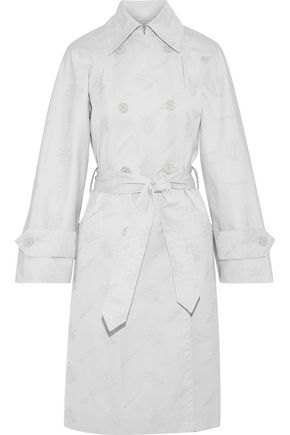 NINA RICCI Double-breasted cotton-blend jacquard trench coat
