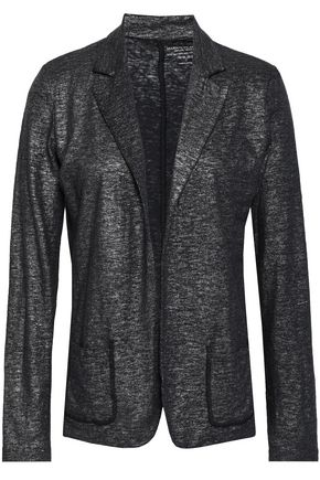 MAJESTIC FILATURES Metallic stretch linen and silk-blend blazer