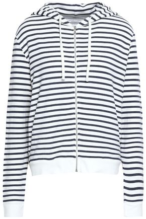 MAJESTIC FILATURES Striped jersey hooded jacket