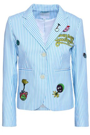 MIRA MIKATI Appliquéd striped cotton-twill blazer