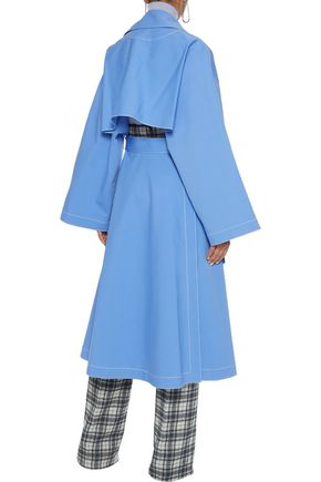 ROSETTA GETTY Cape-back cutout stretch-cotton trench coat