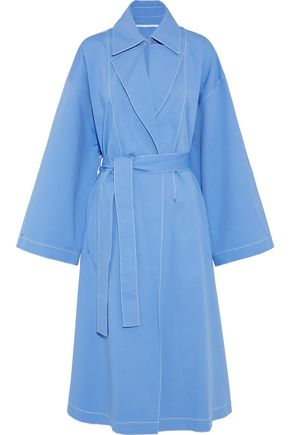 ROSETTA GETTY Cape-back cutout stretch-cotton trench coat