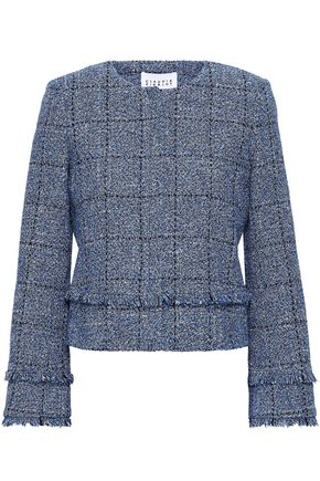 CLAUDIE PIERLOT Frayed metallic cotton-blend tweed jacket