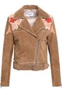 CLAUDIE PIERLOT Embroidered suede biker jacket