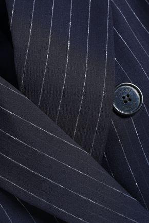 CLAUDIE PIERLOT Double-breasted pinstriped wool-blend blazer