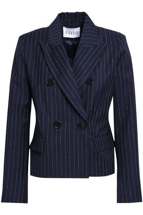 CLAUDIE PIERLOT Double-breasted pinstriped wool-blend blazer