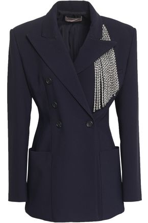 CHRISTOPHER KANE Double-breasted crystal-embellished cady blazer