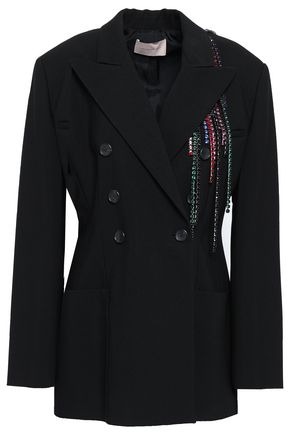 CHRISTOPHER KANE Crystal-embellished double-breasted crepe blazer