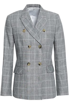 SANDRO Double-breasted checked linen-blend blazer