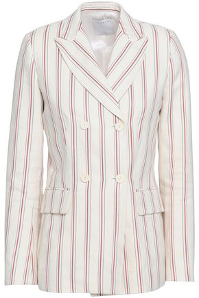 SANDRO Double-breasted striped twill blazer