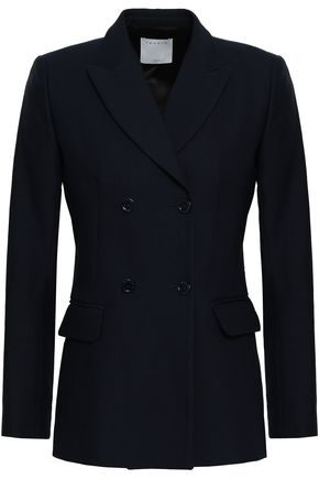 SANDRO Double-breasted cotton-blend blazer