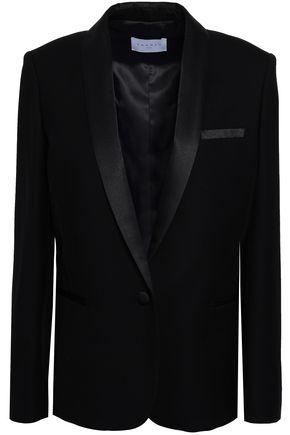 SANDRO Satin-trimmed wool-twill blazer