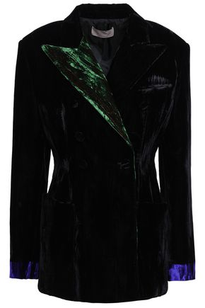 CHRISTOPHER KANE Double-breasted crushed-velvet blazer