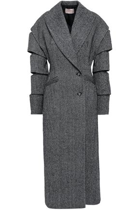 CHRISTOPHER KANE Sliced herringbone wool-blend coat