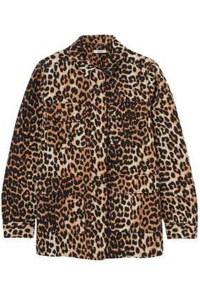 GANNI Camberwell leopard-print linen and cotton-blend canvas jacket