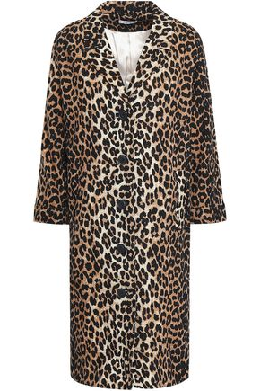 GANNI Camberwell leopard-print linen and cotton-blend coat