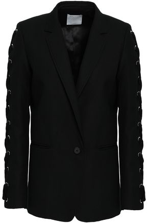 SANDRO Lace-up wool-blend blazer