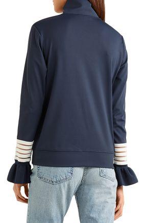GANNI Ruffled stretch-jersey turtleneck top