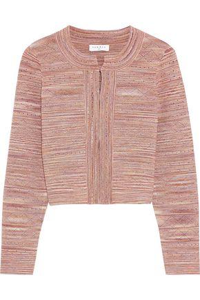 SANDRO Varda cropped marled pointelle-knit cardigan