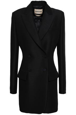 ROBERTO CAVALLI Double-breasted wool and mohair-blend blazer